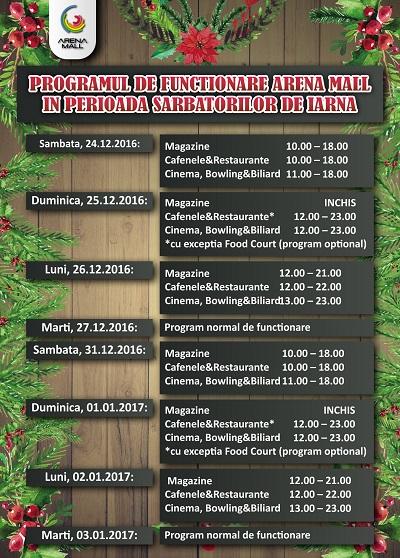 Program de Sarbatori Iarna Arena Mall 2016