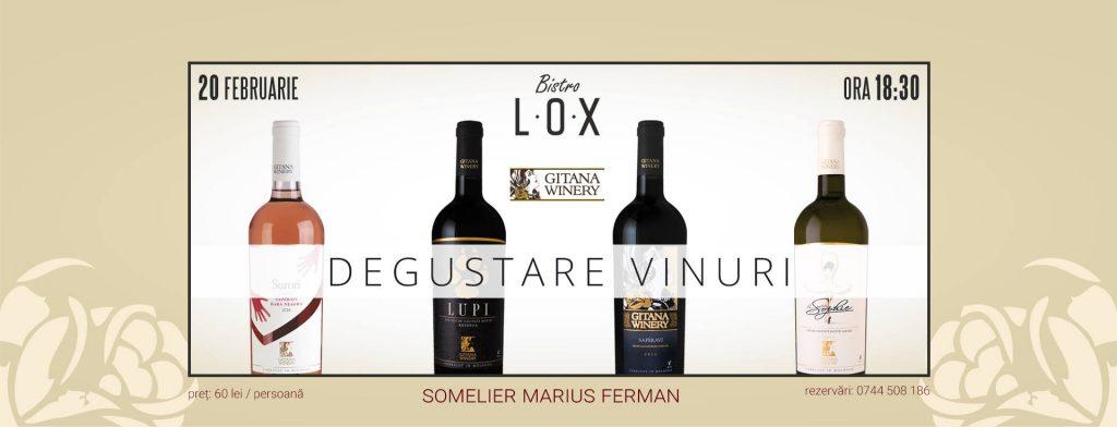 Degustare vinuri cu Gitana Winery @Bistro LOX! februarie 2019